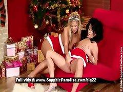 Cameron and Jess sexy lesbian girl sex near Christmas tree