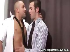 Hunk in office sucks muscle monster cock
