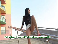 Sury cute brunette flashing her pussy in a public place