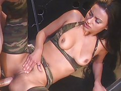 Military slut riding cock