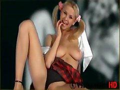 Cute schoolgirl Luciana strips
