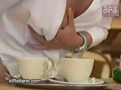 Waitress giving milk