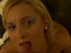 Blond cutie undresses and blows POV