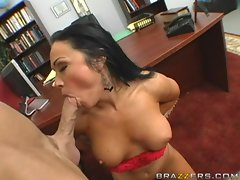 Sexy boss Cherokee strips and sucks a big dick at work