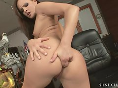 Monica Sweet entertains us by fingering both of her tight holes