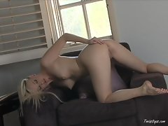 Sexy Brea Bennet strips and spreads her sweet pink wet pussy