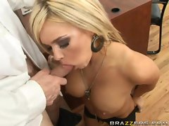 Busty babe Crista Moore gets her mouth fucked by a thick meat stick