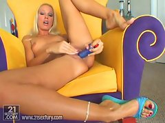 Nasty long legged Vega Vixen masturbating with hard toy