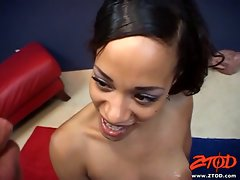 Hot brunette Nautica enjoys getting her face covered with warm cum