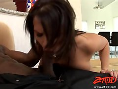 Hottie Katja Kassin gives a sloppy blowjob to a massive black dick
