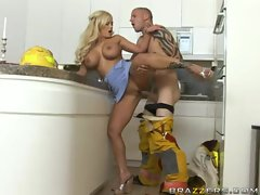 Large breasted Shyla Stlez takes a huge cock in the kitchen into her oven