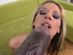 Sexy Bambi sucks and enjoy a big toy dick in her mouth like a lollipop