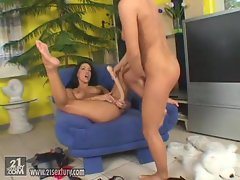 Mya diamond gets off by using a long rubber dildo on her twat