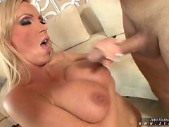 Nikki Benz boobs make the perfect canvas for some hot sticky cum