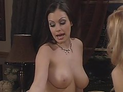 Busty Aria Giovanni naked with her girl friend with big tits in lesbian action