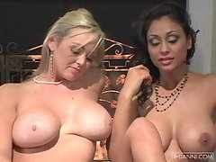 Busty babes Abbey Brooks and Priya Rai get naked and have some wholesome fun