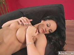 Alektra Blue does a solo mission tempting and teasing on the couch