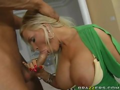 big boobd Diamond Foxxx gets on her knees to suck a massive hard juicy dick