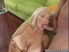 Sexy milf Brittany Oneil loves cum showered on her breasts