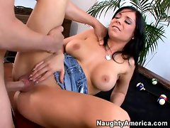 Lusty babe Beverly Hills thumps her friends cock in and out of her tight twat