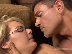 Sweet and sexy Amy Moore gts her bald pussy fucked real hard on a couch
