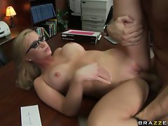 Slutty Dylan Riley gets her hot pussy drilled over her office desk