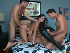 Savannah Stern and Madelyn Marie each getting plowed by a horny stud