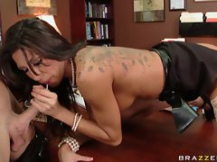Big boobed Kayla Carrera lustily blows her man's throbbing cock