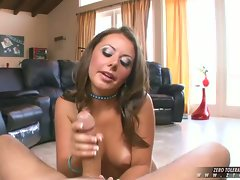 Big titted hardcore whore Penny Flame gives an amazing handjob