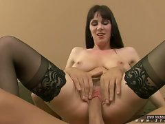 Dark hair MILF Rayveness slams her pink wet pussy against a rock hard cock