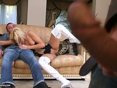 Blonde hot honey Shana Spirit taking a big hard man sausage in her mouth