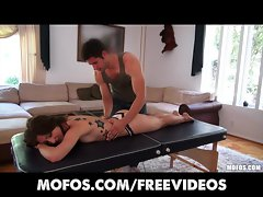 Stunning brunette Latina Alexa Rydell gets a massage