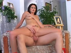 Brunette babe rides cock with her puckered pooper