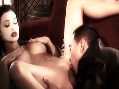 Aletta Ocean gets on her knees and starts licking the outside of a girls vagina