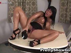 Busty horny slut working on a huge dildo part6