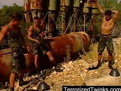 Army twinks having brutal gay sex