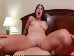 POV sex with big breasted brunette who gets stuffed by huge cock