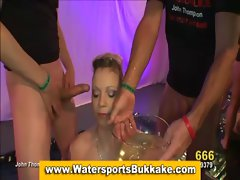 Golden shower slut blowjobs and piss drench