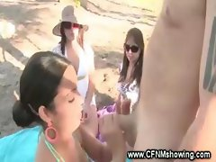 CFNM party slut rides cock at the park