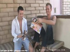 College guys Jake and Aiden jerked off outdoors