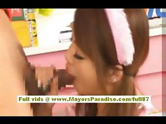 Risa Tsukino asian in waitress uniform sucking huge cock