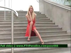 Brynn gorgeous blonde girl on the stairs
