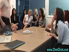 Naughty cfnm group of office sluts