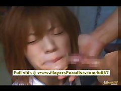 Azusa Itagaki Naughty Asian model sucks cock and swallows cum