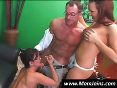 Randy Spears dips his dick inside a mom with glasses and her fledgling daughter