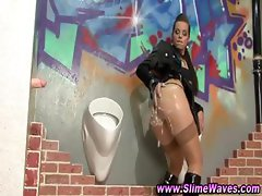 Bukkake gloryhole fetish slut drenched in fake cum
