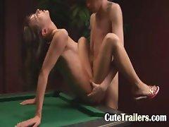 Beautiful billiards sex of gaunt couple