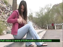 Jessy amateur redhead girl walking down the street