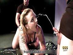 Thick blonde slut gets gangbanged hard part6