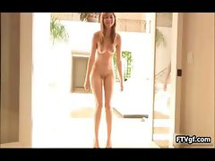 Long legged teen babe showing her part4